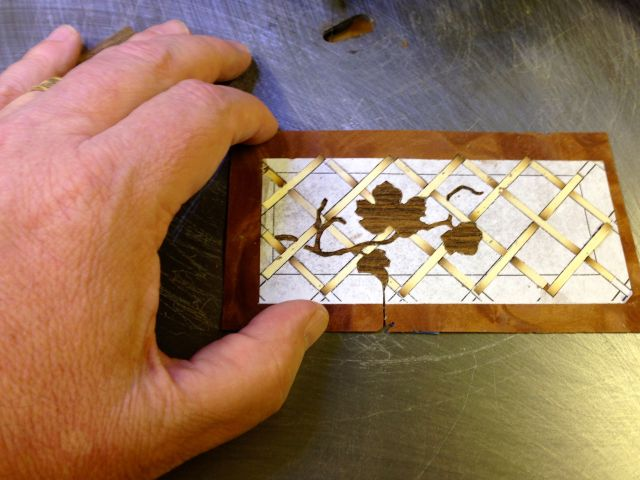 Basket weave marquetry