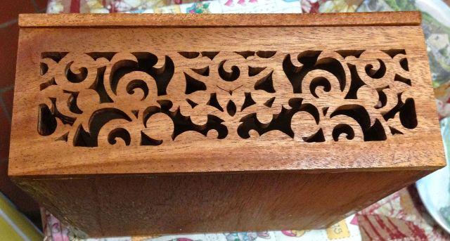 fretwork box with marquetry
