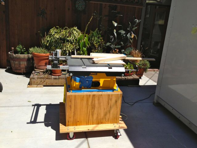 My shop is full of boxes and supplies for the remodel so I pushed the table saw out to the driveway to do the cutting.