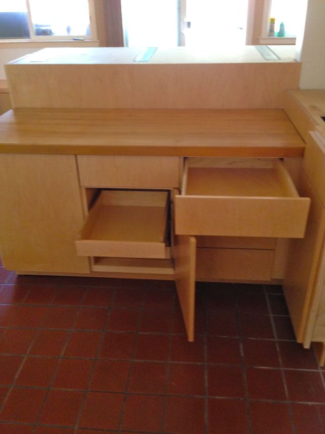 The new drawers and pullout shelves.