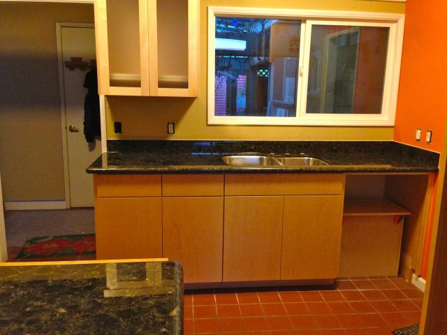 The new granite counter tops.  We picked a contrasting color to highlight the cabinets.