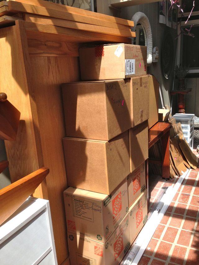 Boxes in the atrium.