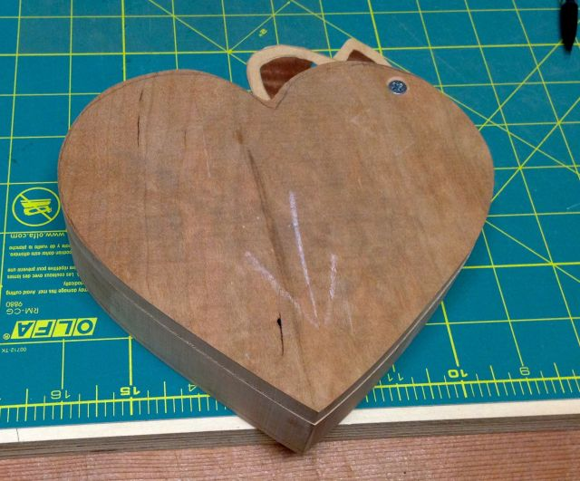 Heart shaped band saw box in progress