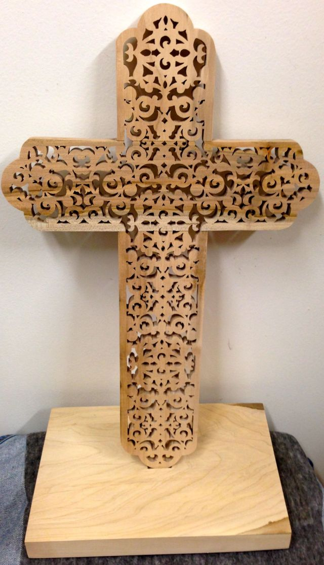 Front of the finished cross with base.