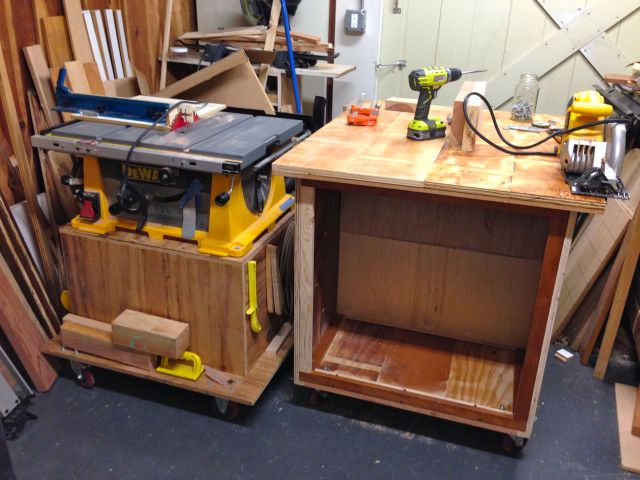 Side by side with my table saw.  The cart is the same height and can be used as a out-feed/in feed/side feed for the table saw.