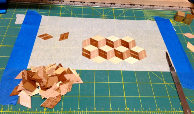 The cubes being assembled. I cut about 120 diamonds.