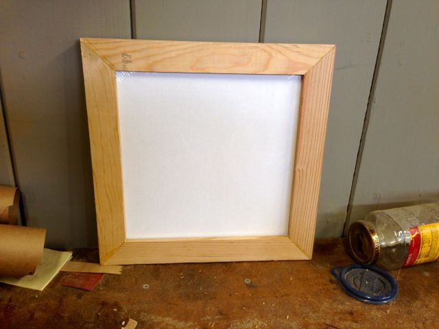 Canvas in frame. Exciting!