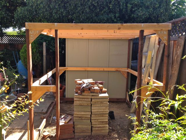There will be two screen doors where. The stack of slabs are for the walk ways between the planter boxes.