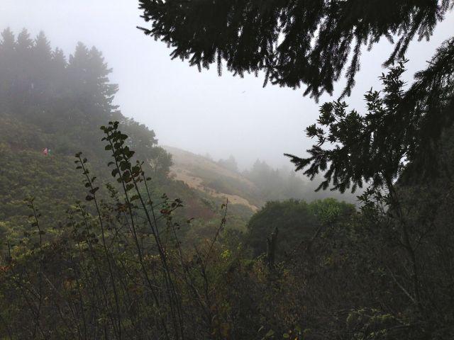 Cloud flowing over ridge.