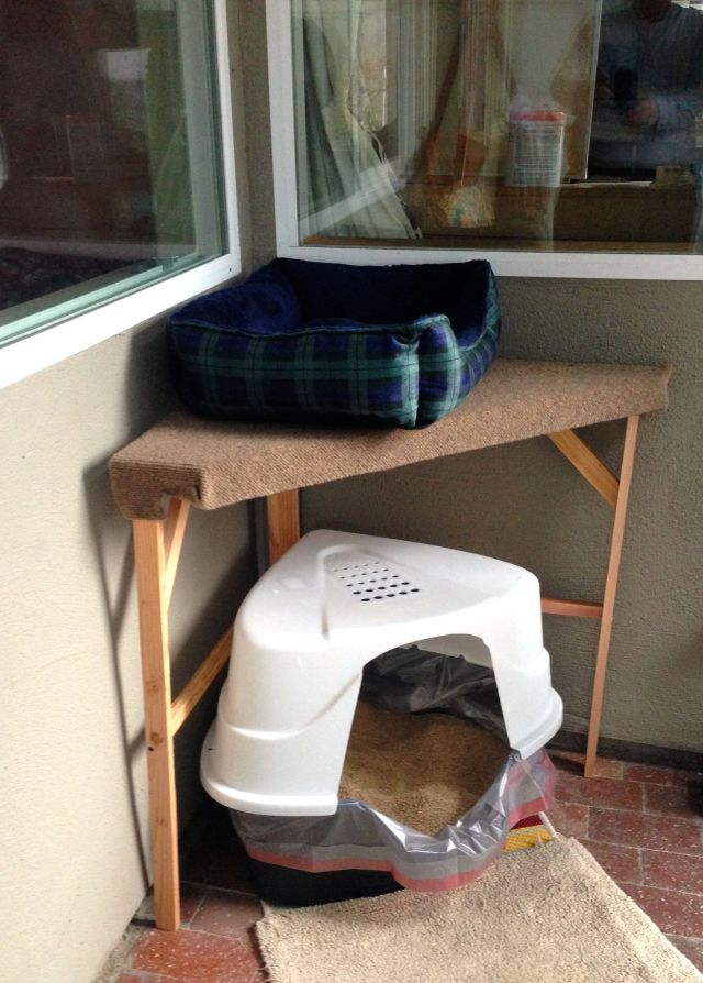 New table for cat bed. Okay, boots has to live over her litter box, but it hasn't bothered her yet.