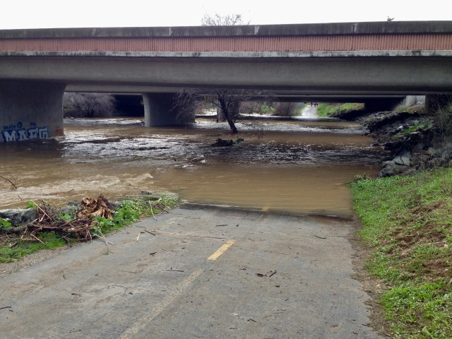 This is the Los Gatos Creek Trail as it goes under the highway.  The path is cover by at least 5 feet of water.
