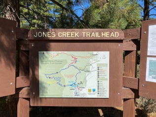 The map at the trailhead. We spent several minutes looking for the shortest trail loop.